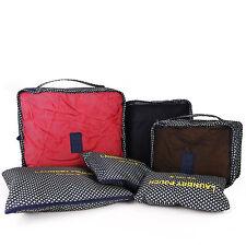 6Pc Waterproof Travel Cosmetic Packing Cubes Bags Organiser Set Storage Luggage