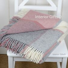 KNEE RUG SMALL THROW Pure New Wool  DUSKY PINK & SILVER GREY Check Chair Blanket