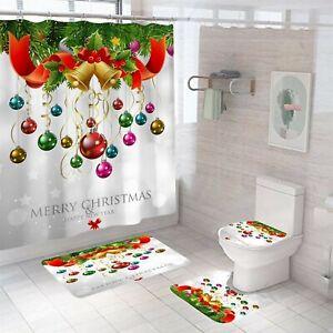 Merry Christmas Bathroom Rug Set Shower Curtain Soft Toilet Lid Cover Bath Mat