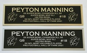 Peyton Manning nameplate for signed autographed jersey football helmet or photo