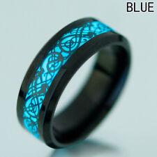 Men Women Ring Jewelry Glow In The Dark 8mm Titanium Steel Luminous Band Ring