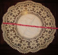 "Vtg 29"" Round Handmade Crocheted Lace Doily Table Scarf Ivory Antique Linens LRG"