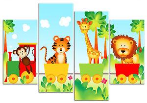 Jungle Animal Train - Lion Tiger - 4 Panel Children's Canvas Art Print Picture