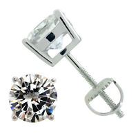 ROUND CUBIC ZIRCONIA SCREW BACK STUD EARRINGS 925 STERLING SILVER RHODIUM PLATED