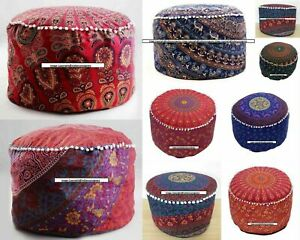 Footstool Mandala Design Beautiful Cotton Fabric Handmade Ottoman Cover Indian