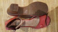Block Leather Party Open Toe Heels for Women
