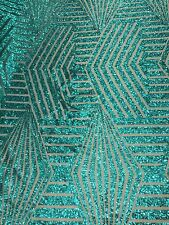 "Teal Bombshell Sequin Stretch Lace Apparel Fabric - Sold By the Yard - 54"" / 55"""