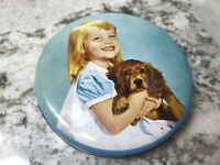 Vintage Blue Toffee Candy Tin Can With Little Girl And Her Dog Blonde Blue Eyes