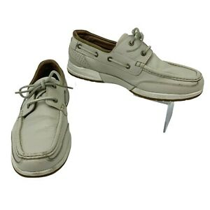 Tommy Bahama Boat Shoes Mens Size 8.5 D Beige Leather Lace Up Casual Loafer Dock