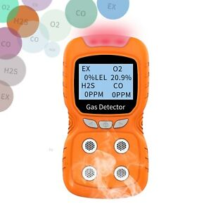 4 In 1 Gas Detector CO H2S O2 Oxygen Monitor Analyzer Leak Portable Combustible