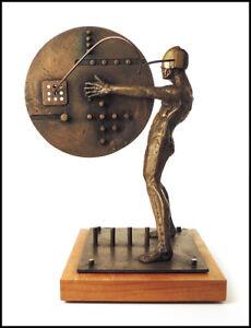 Ted Gall Large Original Bronze Industrial Sculpture Signed Modern Figurative Art