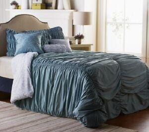 King Comforter Set Calista 6-piece Comforter Set Slate Blue & Reversible Rouche