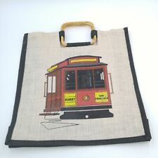Vintage San Francisco Trolley Cable Car Koret Woven Handbag with Wood Handle