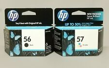HP 56 Black C6656AN 57 Tri-Color C6657AN Ink Cartridge New Sealed Box Lot Of 2