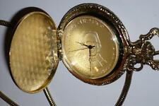 Vintage  Pocket Watch Spain Encuentro De Dos Mundos Coin 1492-1992 Gold Plate
