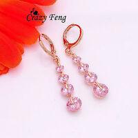 18k Gold Filled Pink Crystal Pierced Dangle Drop Earrings Wedding Birthday Gift