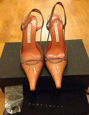 Pura Lopez pointy brown salmon heels shoes size 38,like NEW! RRP $350