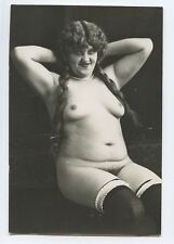 German Austrian Fat FULL Nude Girl with braid old c1920s Gelatin Silver photo