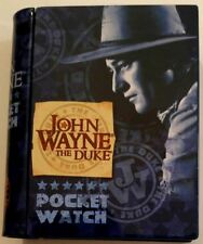 Schylling John Wayne DUKE Pocket Watch in tin book Storage box VERY RARE
