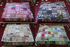 "Indian Wholesale Lots 35"" Patchwork Floor Cushion Covers Home Decorative 5 Pcs"