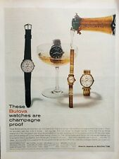 Lot of 3 Vintage Bulova Watch Print Ads Champagne Proof Accutron US Postal Srvce