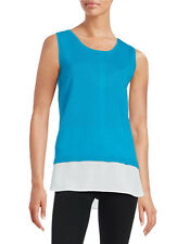 New Calvin Klein Women's Layered Ribbed Tank Knit Top Blue/White M6ES8738 L $79