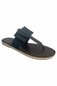Escadrille Brown Leather Black Bow Flat Thong Espadrille Sandals Sz 39/9B NIB