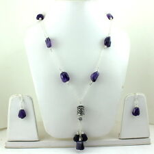 NATURAL FINE FACETED AMETHYST GEMSTONE BEADED BEAUTIFUL NECKLACE,EARRINGS 61 gm.
