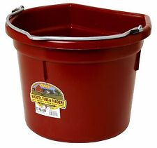 Little Giant Flat Back Bucket Heavy Duty Plastic Wire Notch Handle 22qt Burgundy
