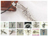 Stainless Steel Symbol Pendant Necklace/ Black Cord+ Clasp/ Choice Of 14 Styles