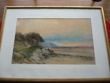 """Pintura Acuarela William Joseph Wadham (1863-1950) Br./Aus. escena costera"""""""""""