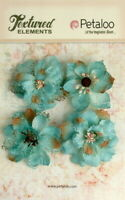 Burlap Flowers 4 x TEAL  Approx 55-60mm across & varied centres Petaloo BUR E