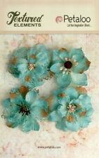 Burlap Flowers 4 x TEAL  Approx 55-60mm across & varied centres Petaloo BUR E