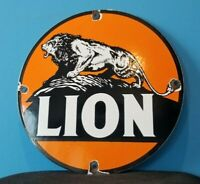 VINTAGE LION GASOLINE PORCELAIN GAS MOTOR OIL AUTO SERVICE STATION PUMP SIGN