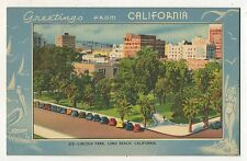 Lincoln Park, LONG BEACH CA Greetings from California Vintage Postcard