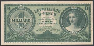 Hungary 1 Sextillion Pengo 1946 Pick 137 XF+/aUNC (21zero)