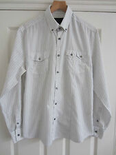 River Island mens white black formal shirt slim fit size M Medium long sleeve