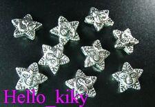 60Pcs Tibetan silver floral star spacer beads A343