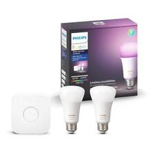 Philips Hue White and Color Ambiance A19 LED Smart Light Bulb Bulbs Starter Kit