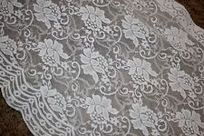 """1 yard Cream Off White Floral wedding lingerie sheer STRETCH LACE 12"""" extra Wide"""