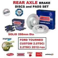 REAR BRAKE PADS + DISCS (288mm) for FORD TOURNEO CUSTOM 2.0TDCi 2.2TDCi 2012->on