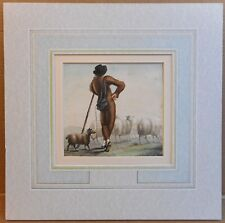 French Shepherd & Dog, Pyrenees . Watercolour, initialled MRR, circa 1860