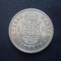HUNGARY / SILVER 1 FORINT / 1891 K-B Fiume!