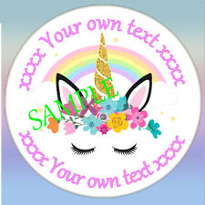 Personalised Unicorn birthday Party Stickers sweet cone Labels Pink Girl