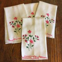 Vtg Linen tea towels Embroidery Floral design Set 4 pink green Kitchen textile