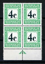 SOUTH AFRICA 1961 4c. Green & Emerald POSTAGE DUE BLOCK OF FOUR SG D54a MINT