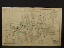 New York Long Island Map 1873 Jamaica Village, Queens, Double Page N3#96