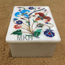 Decorative Marble Handcrafted Jewelry Box/ Trinket Box With Gems Inlay Work