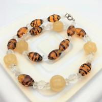 Vintage Tiger Stripe Glass Bead Necklace Orange