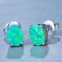 Holiday Jewelry 4*6 MM Rainbow Green Fire Opal Gems Silver Stud Hook Earrings